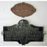 2 x cast iron Wagon Plates. THE BIRMINGHAM RAILWAY CARRIAGE & WAGON COMPANY SMETHWICK 1925 and