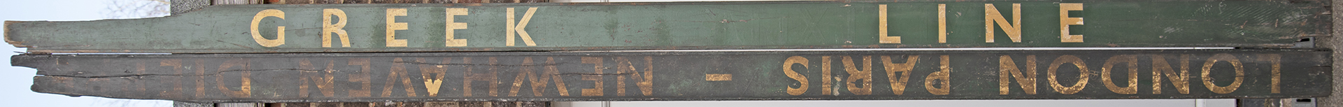 BR(S) wooden carriage boards x 2 GREEK LINE and LONDON PARIS NEWHAVEN. Both have some loss to one