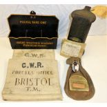A Lot containing Railway Station items. Canvas cash bag complete with GWR stamped lock. Edmondson