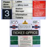 A collection of railway related signs. Some reproduction including TICKETS with other signs