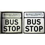 Double sided enamel Bus Sign. ALDERSHOT & DISTRICT Traction Co. BUS STOP. Excellent condition.