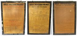 A group of 3 x GWR station notices mounted within original frames. One frame marked GWR. Believed to