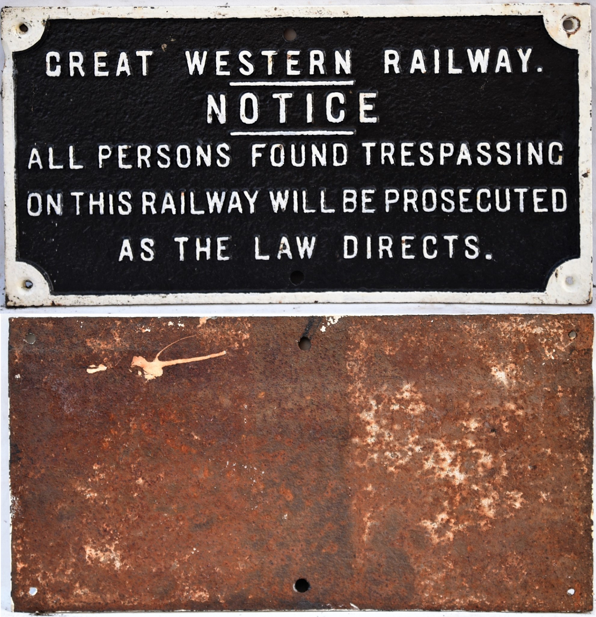 GWR cast iron notice. ALL PERSONS FOUND TRESPASSING. Front repainted measuring 23.5in x 12 in.