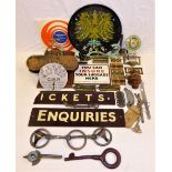 A Sundry Lot containing several miscellaneous items. Reproduction K.P.E.V plaque. Broken GWR TICKETS