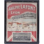 Framed & glazed advertising show card. ADOLPHE LAFONT LYON. Measures 23.0 x 28.25 in.