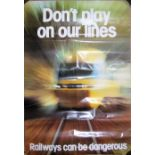 A small railway safety poster featuring an HST 125 warning children DONT PLAY ON OUR LINES. RAILWAYS