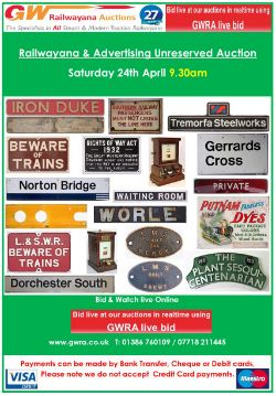 Railwayana & Advertising Non Reserved Auction