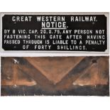 GWR Cast iron gate notice. ANY PERSON NOT FASTENING THIS GATE etc. Front repainted. Measures 29.