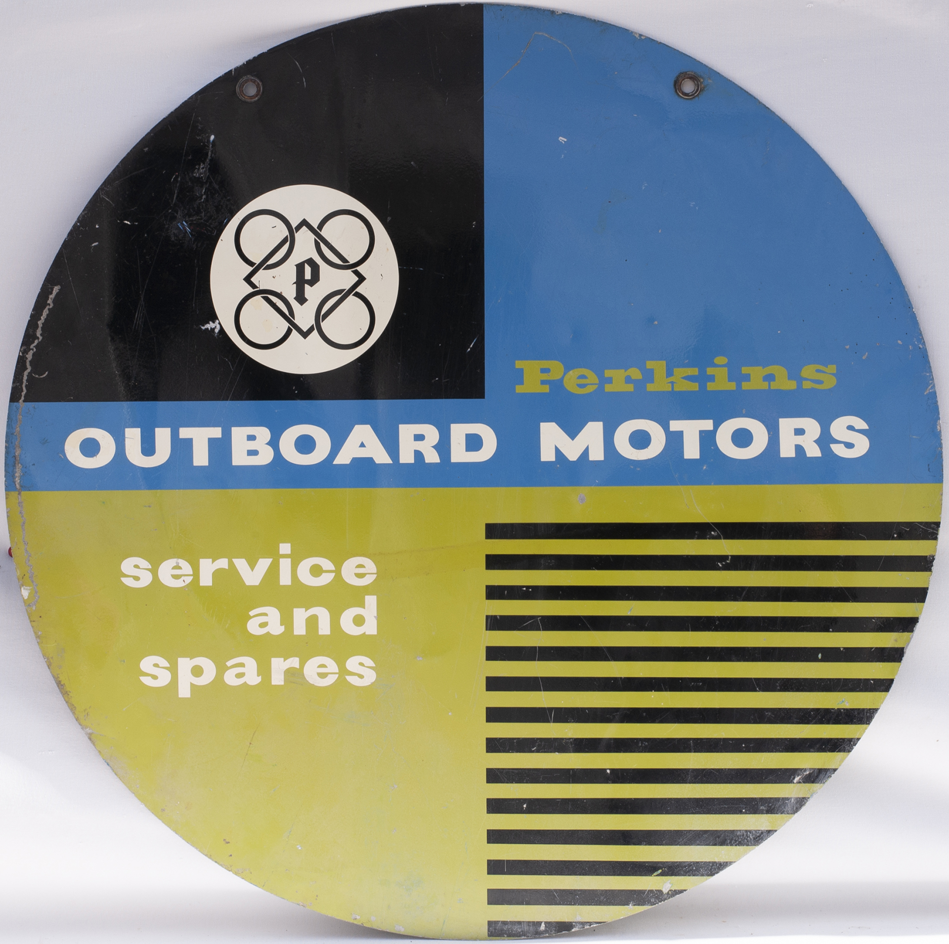 Advertising Sign. PERKINS OUTBOARD MOTORS. Double sided screen printed circler sign in aluminium.