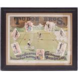 Framed & glazed advertising poster. TUDER BROS WE RIDE TORPEDO CYCLES FITTED WITH DUNLOP TYRES.