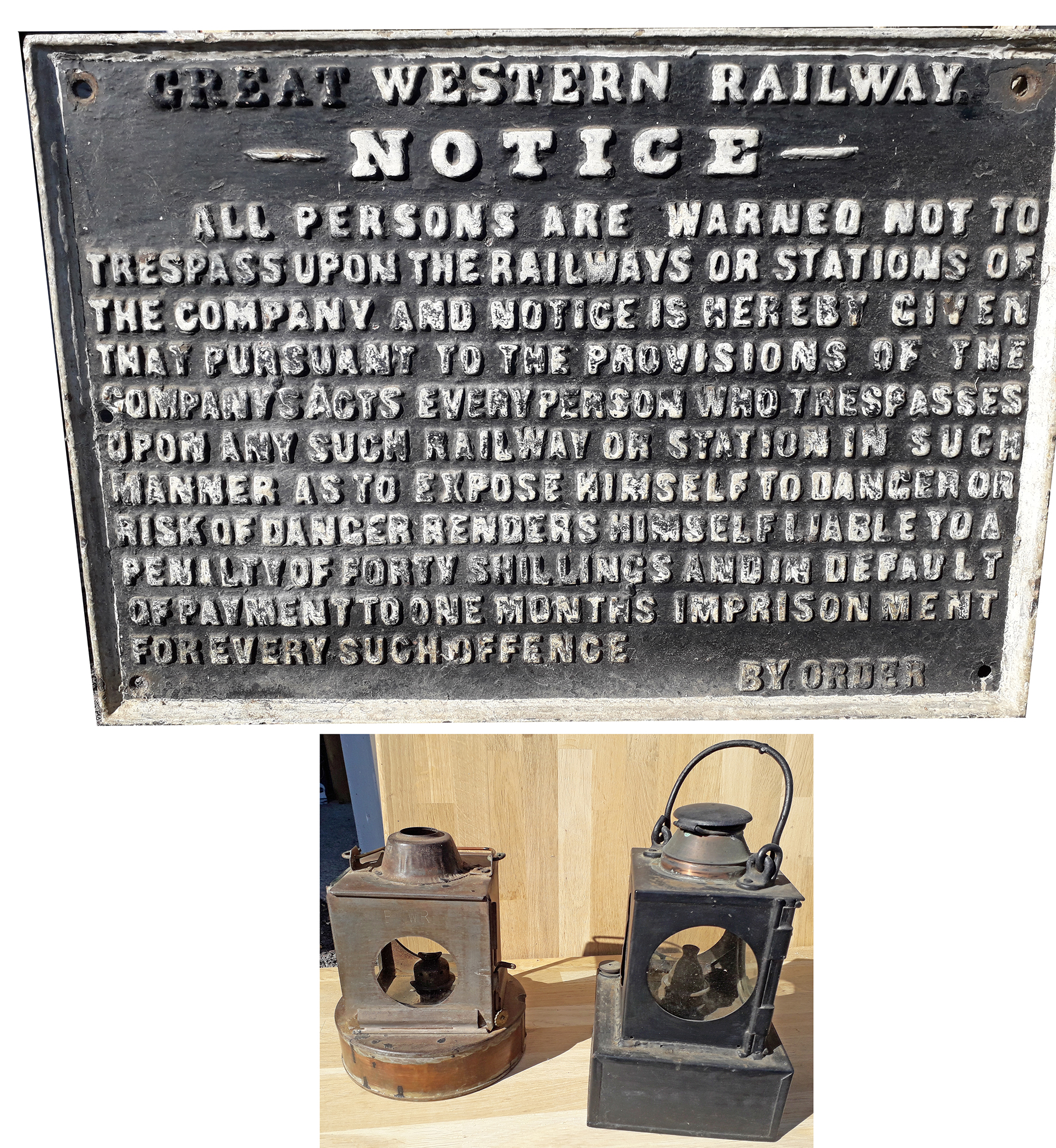 Great Western Railway pre grouping cast iron trespass sign in nice original condition together