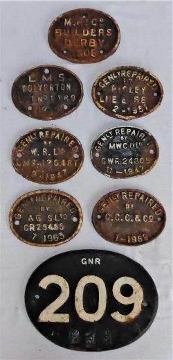 7 x cast iron Gen Repaired oval plates from various locations together with a GNR 209 cast number