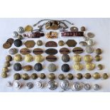 A collection of GWR. LMS and BR Buttons, WW2 Service Badges. GWR P way 2200 Guards whistle. 2 x