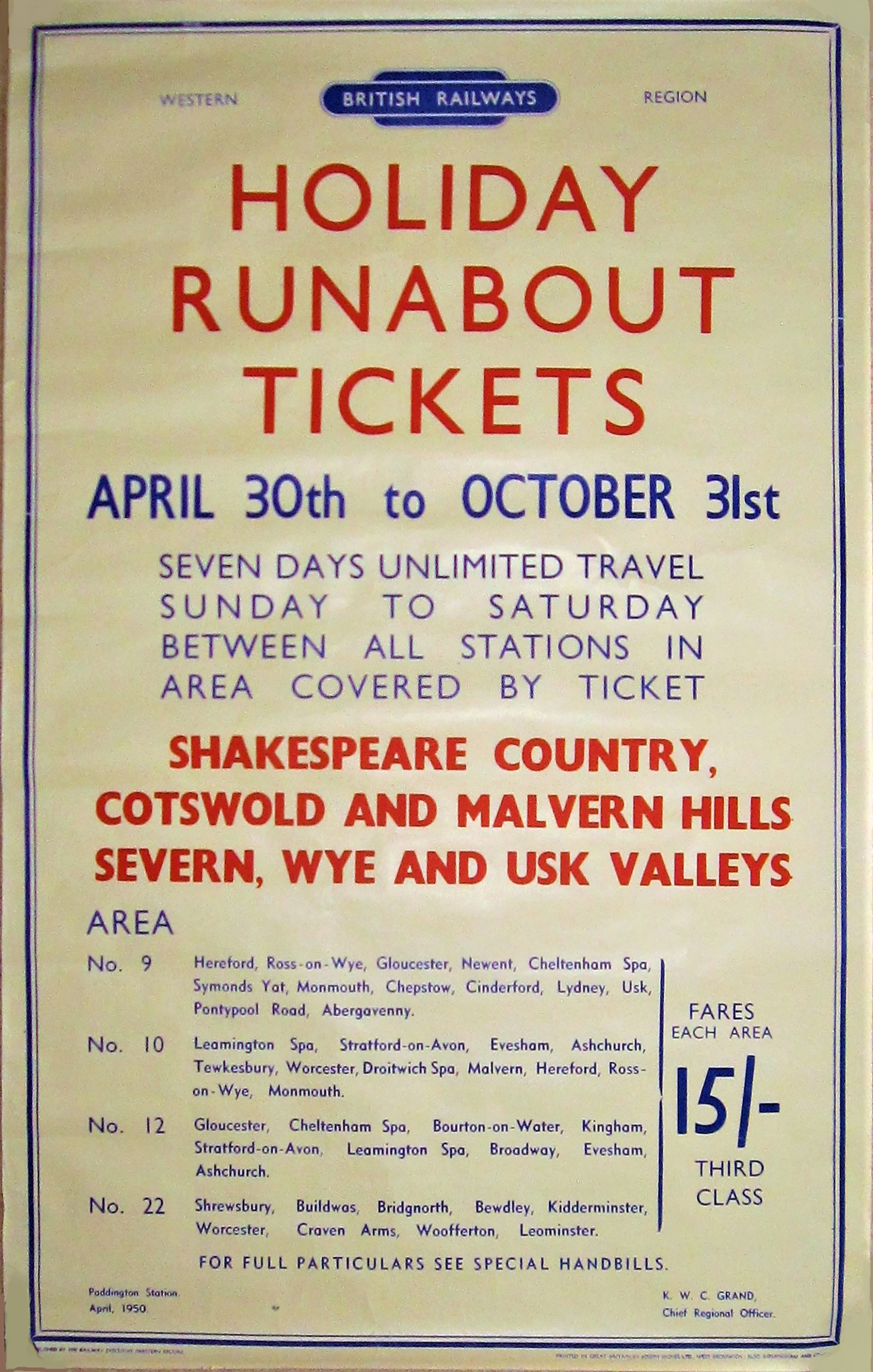 British Railways double royal poster advertising HOLIDAY RUNABOUT TICKETS in APRIL 1950. Priced at