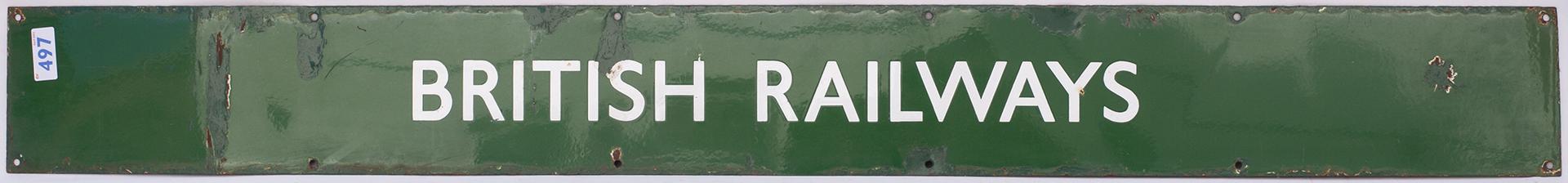 BR(S) Enamel poster board heading BRITISH RAILWAYS. Measures 52.5 in x 5.75 in.