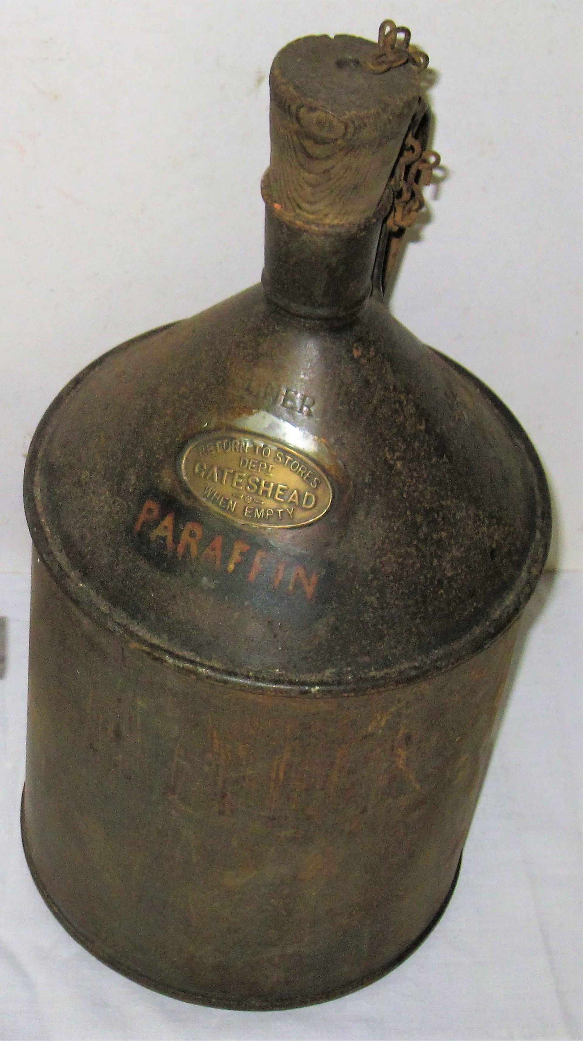 LNER One Gallon Paraffin Can plated, RETURN TO STORES DEPT GATESHEAD WHEN EMPTY. Good original