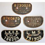 5 x Cast Iron Wagon D Plates. B 730028 20T Darlington. B 740423 12T Darlington. B 950144 20T