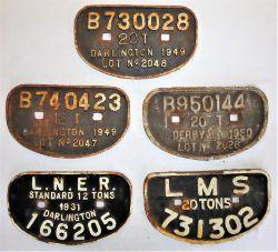5 x Cast Iron Wagon D Plates. B 730028 20T Darlington. B 740423 12T Darlington. B 950144 20T