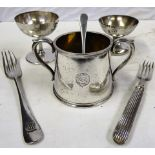 A lot containing GWR table ware to include GWR Sugar Bowl engraved TREGENNA CASTLE HOTEL. 2 x GWR