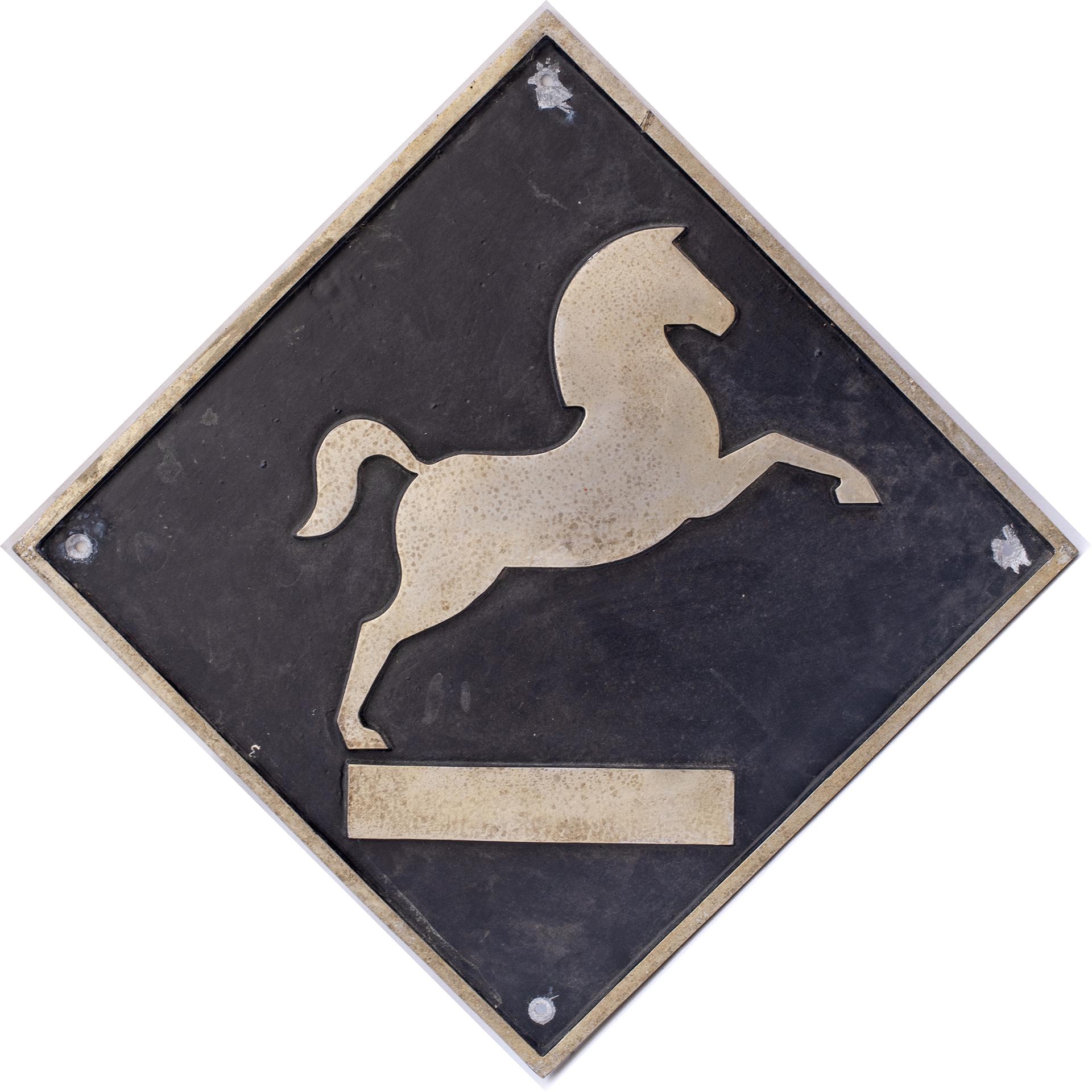 British Rail cast aluminium depot plaque for Westbury depicting the White Horse. Square cast