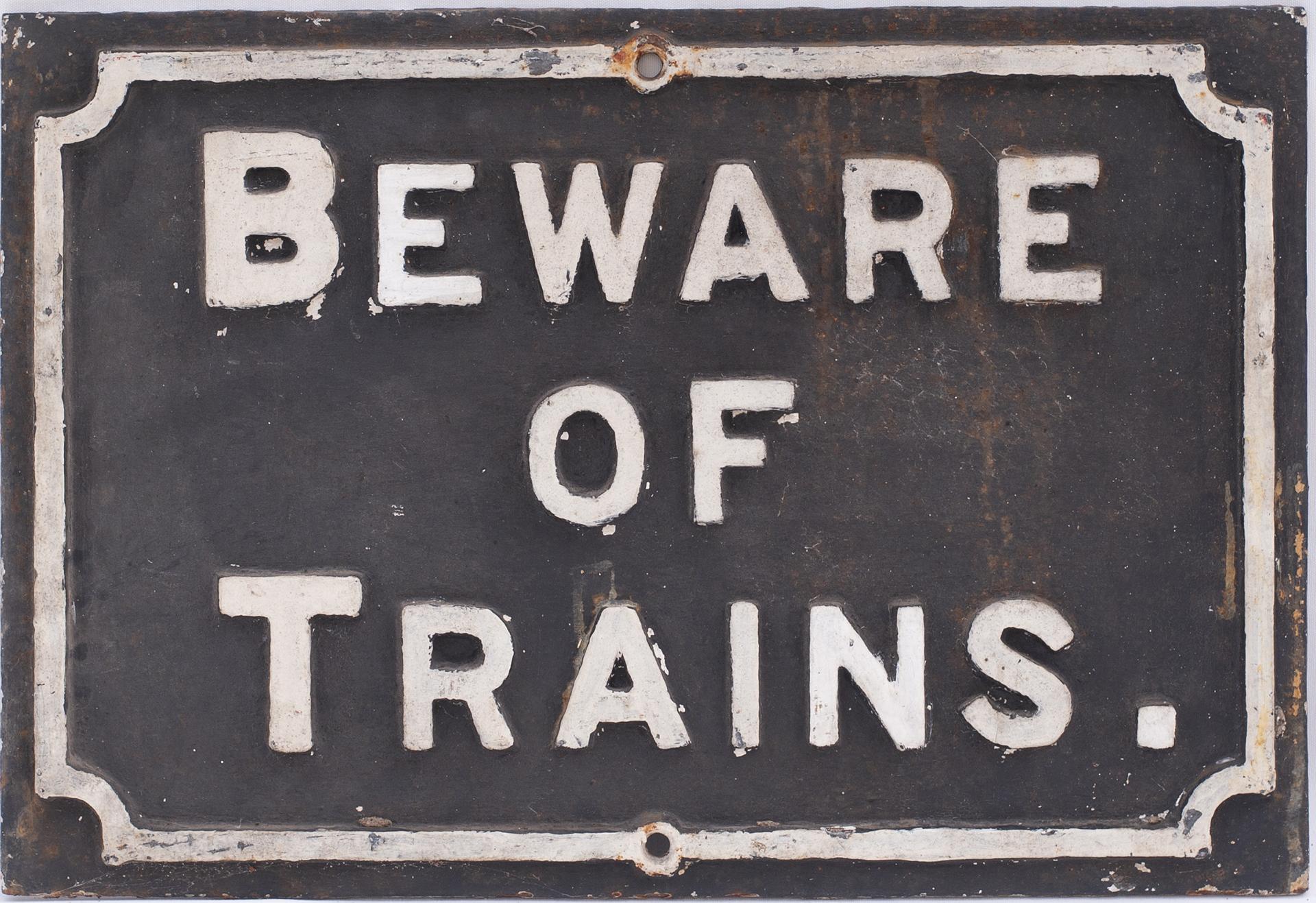 Midland Railway Cast iron sign. BEWARE OF TRAINS.
