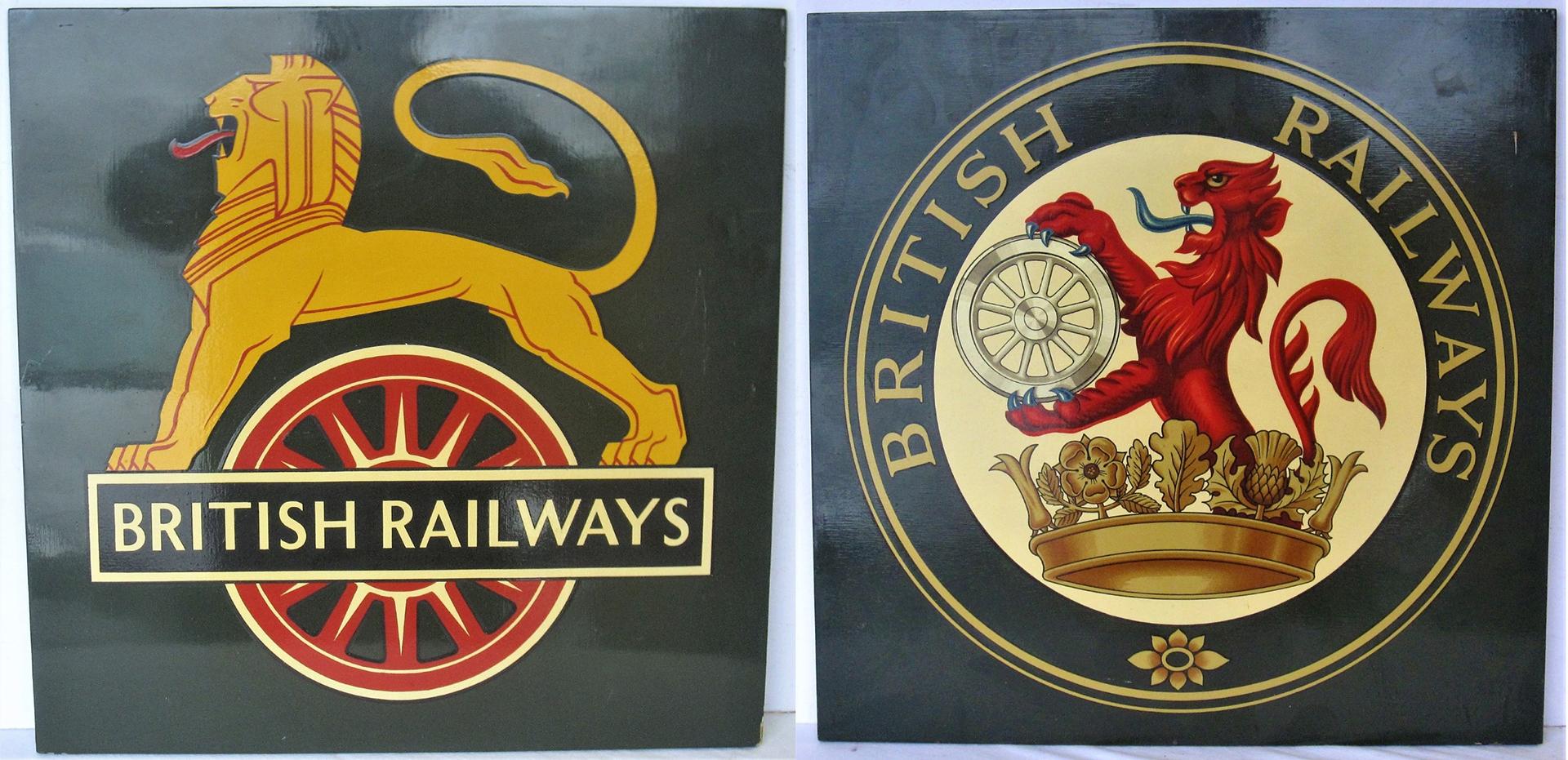 2 x British Railways coats of arms mounted onto wood.