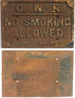 GWR Cast Iron sign. NO SMOKING ALLOWED By Order. Devoid of paint in good original condition.