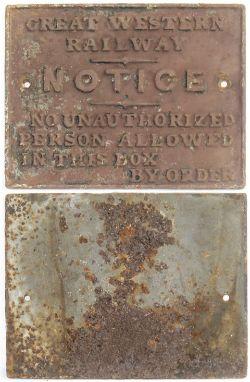 GWR Cast Iron Signal Box door notice. No unauthorized persons etc. Good original condition.