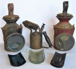 2 x Railway lamp cases for restoration. GER IPSWICH COACHING and LNER ENFIELD TOWN with badly rusted