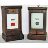 2 x GWR Signal Box wooden cased repeaters. Slot indicator and Train on Bar indictor fitted with