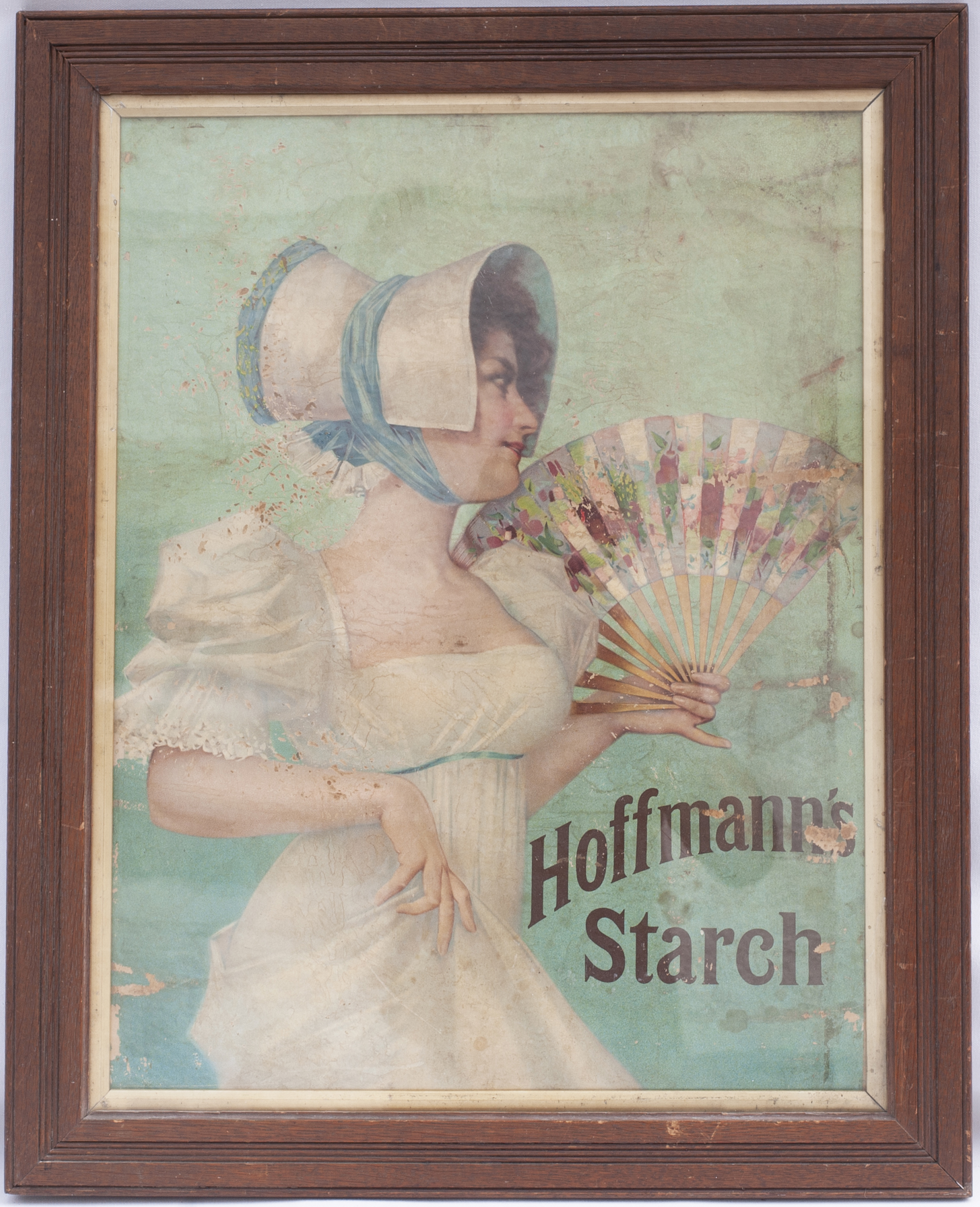 Framed & glazed advertising show card. HOFFMANS STARCH. Measures 22.5 in x 27 in.