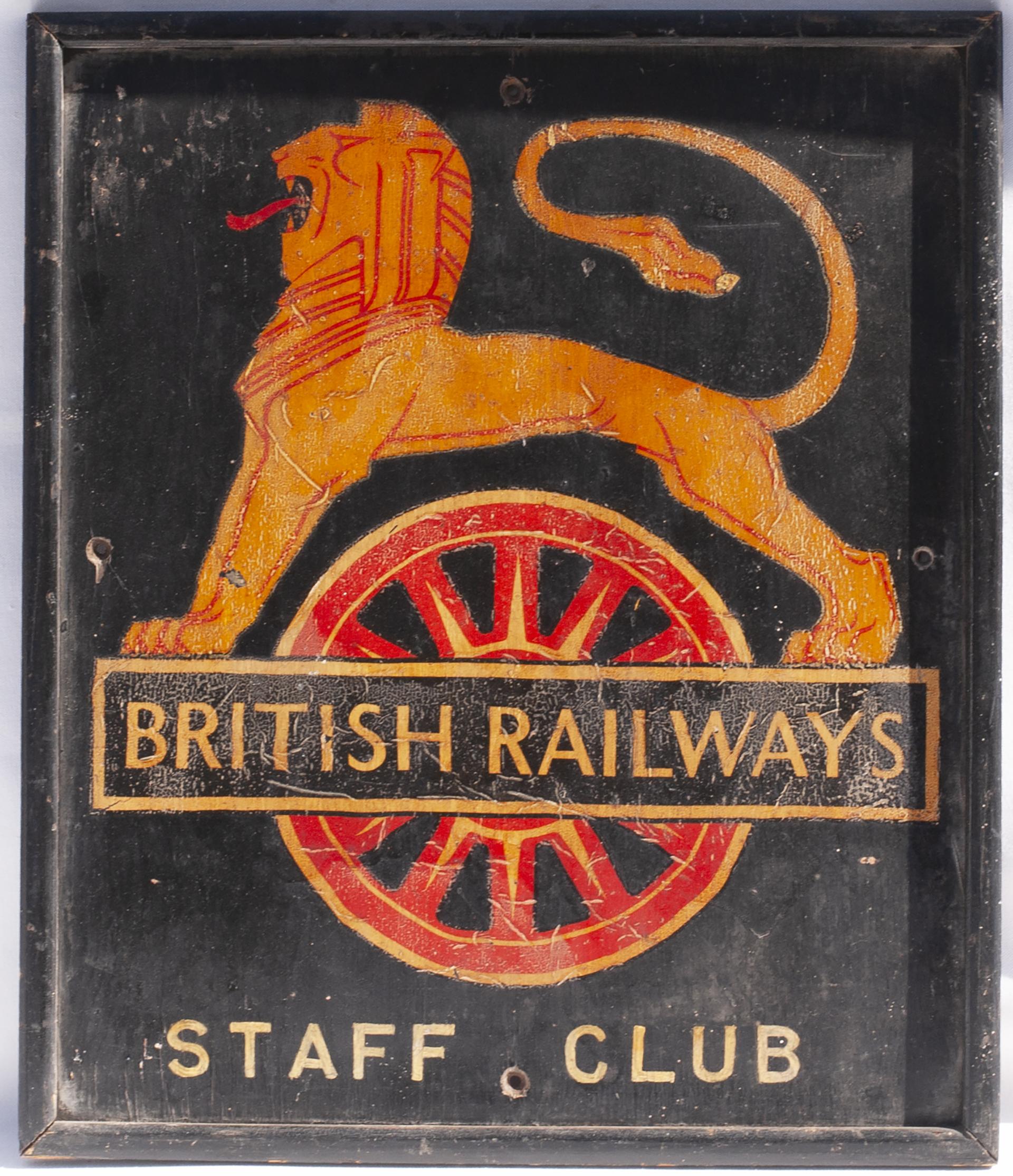 British Railways STAFF CLUB Board. Measures 17.5 in x 20 in.