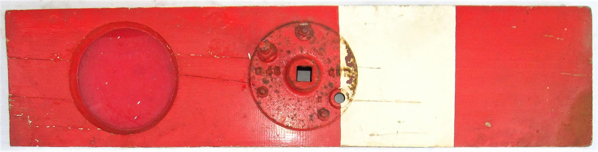 GWR centre balance Home Signal Arm. Complete with red lens and centre boss cast GWR. Good original