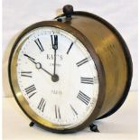 GWR Kays brass Drum Clock not stamped GWR but with matching numbers 3016 on case, back and movement.