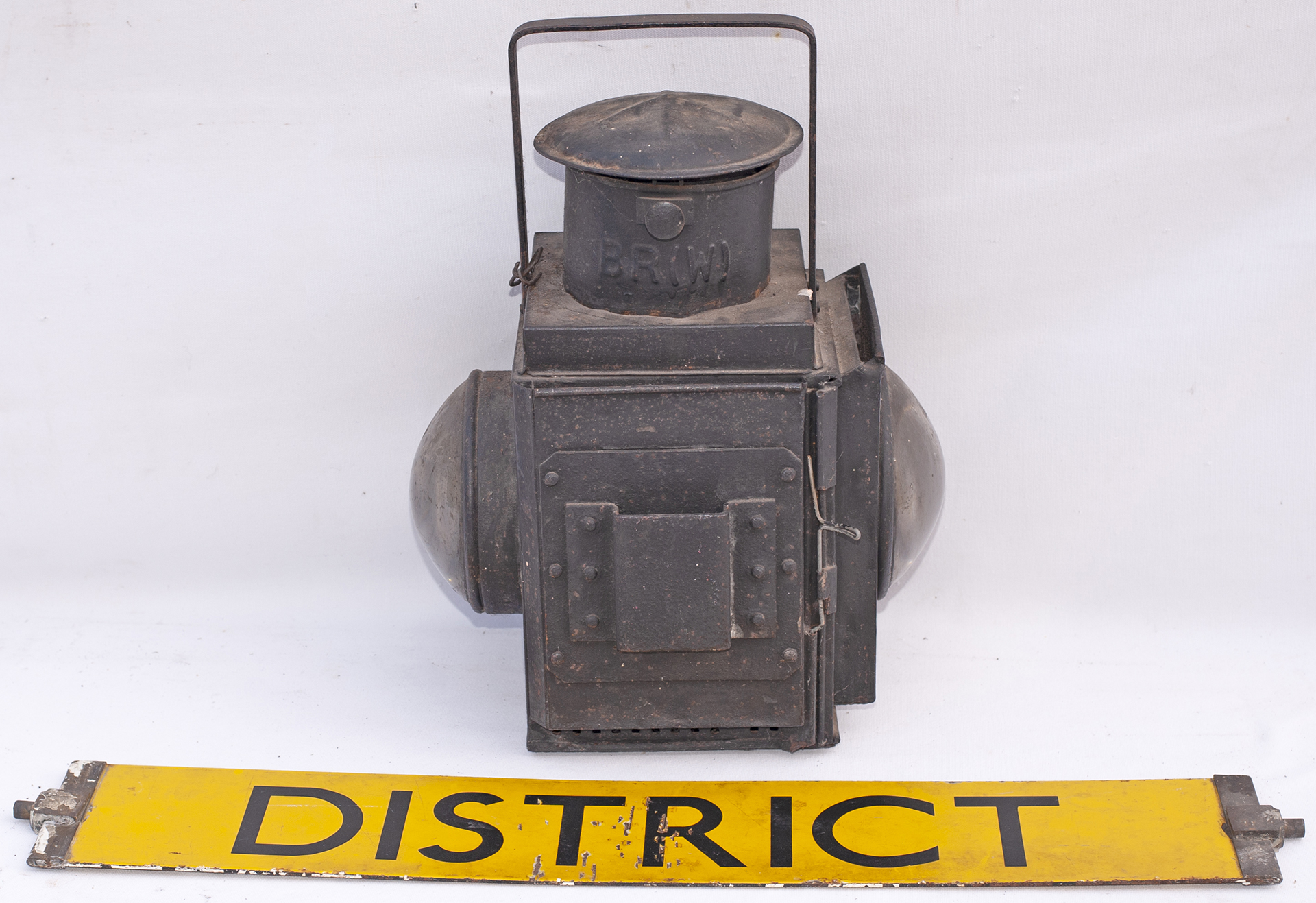 BR(W) GWR pattern Guards Van Side Lamp, no vessel. Together with an Underground enamel DISTRICT