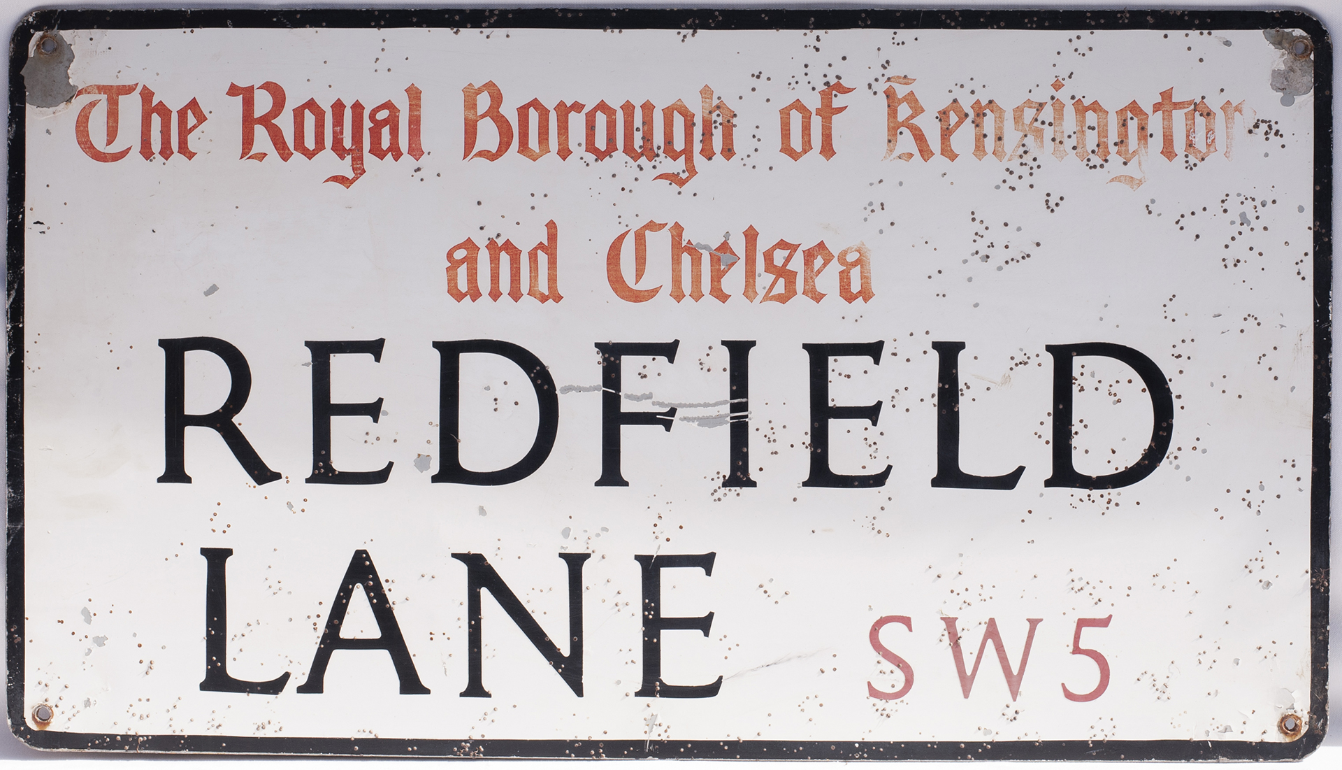 Road Street Sign. REDFIELD LANE THE ROYAL BOROUGH OF KENSINGTON and CHELSEA SW5. Aluminium measuring