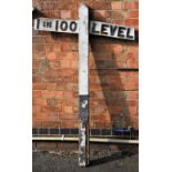 Wooden gradient sign complete with post. 1 in 100 and LEVEL. Good condition measures 63 in tall.