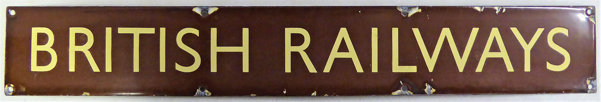 BR(W) Enamel Poster Board Heading BRITISH RAILWAYS. Original condition.