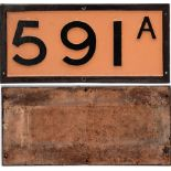 Southern Railway cast iron Bridge Plate 591A. Recovered from NORTH TAWTON STATION. Repainted front