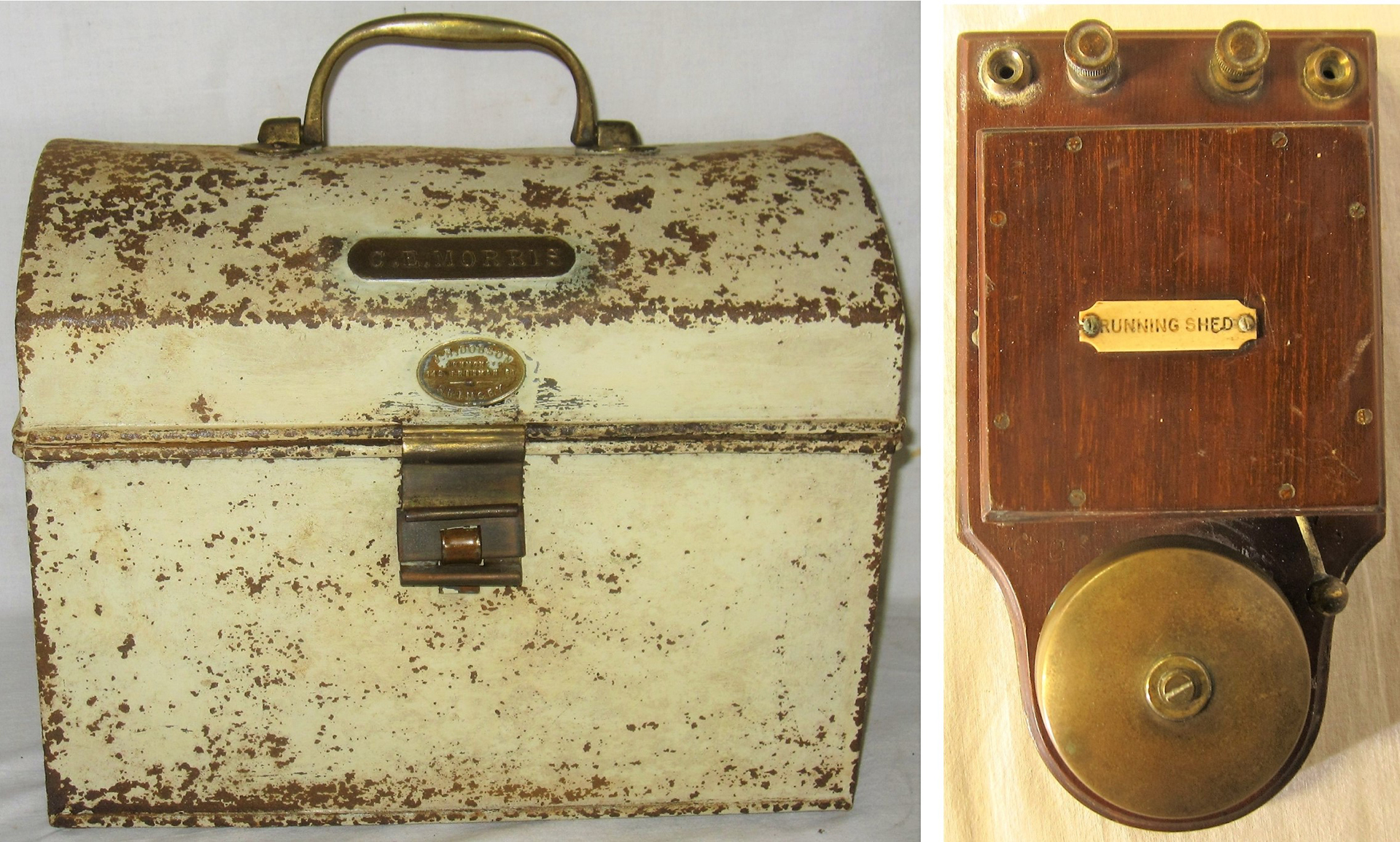A lot containing a Drivers Snap Box made by J Dobson's of Grimsby. Brass plate attached, C.E
