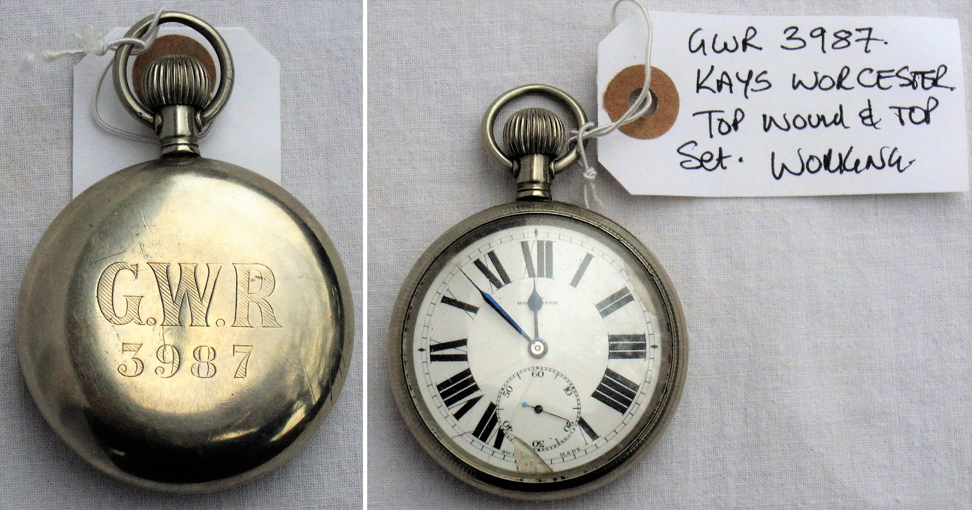 GWR Guards Watch. Shaded engraving on rear GWR 3987 by KAYS of Worcester. Working condition.