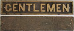 GWR Pre grouping cast iron Door Plate. GENTLEMEN. Good original condition. (Back illustrated).