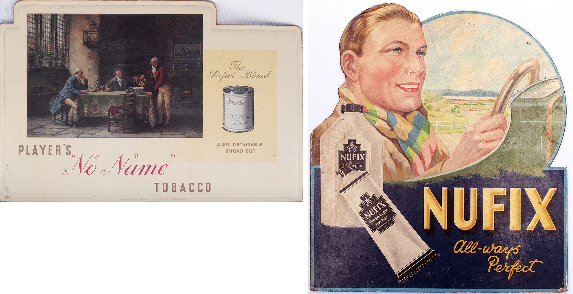 Advertising Show Cards PLAYERS NO NAME TOBACCO measures 15in x 10in, together with NUFIX Dressing