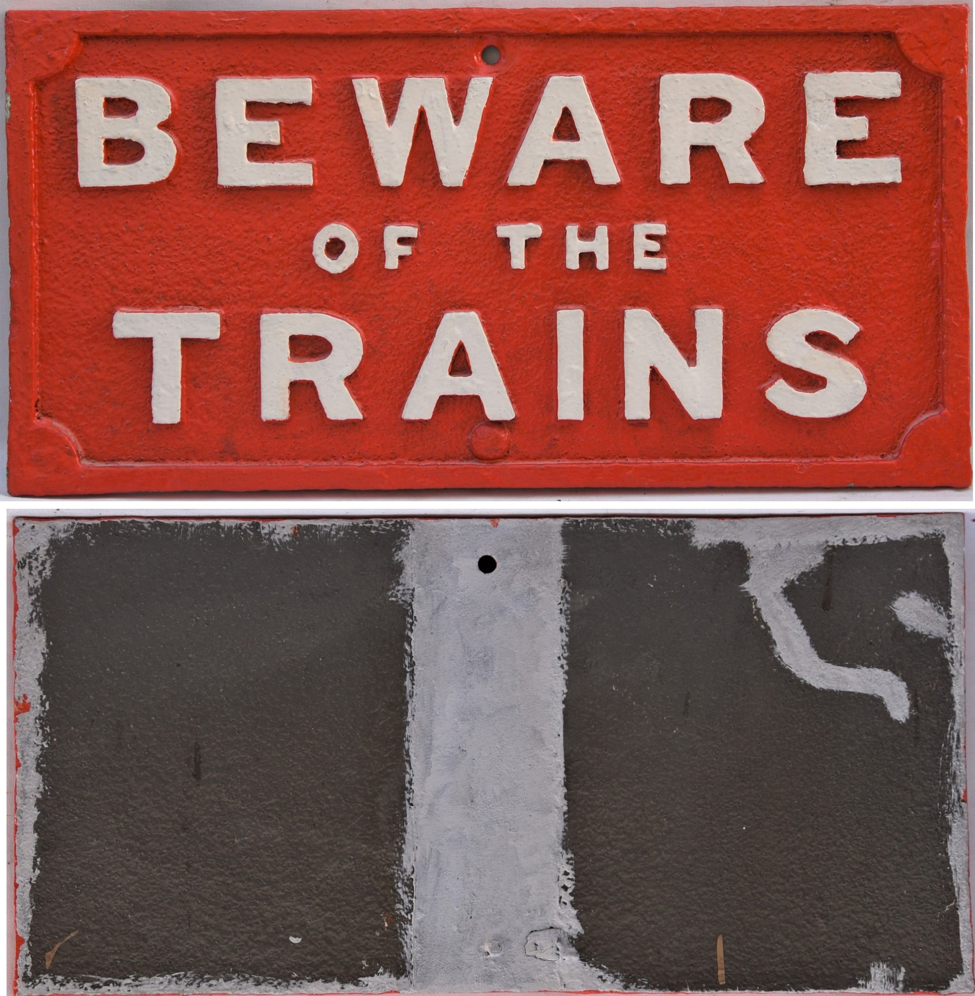 Lancashire & Yorkshire Railway cast Iron Sign. BEWARE OF THE TRAINS. Restored condition. Measures