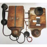 2 x Signal Box Telephones. Twin button and LSWR example with separate ear piece fitted with enamel