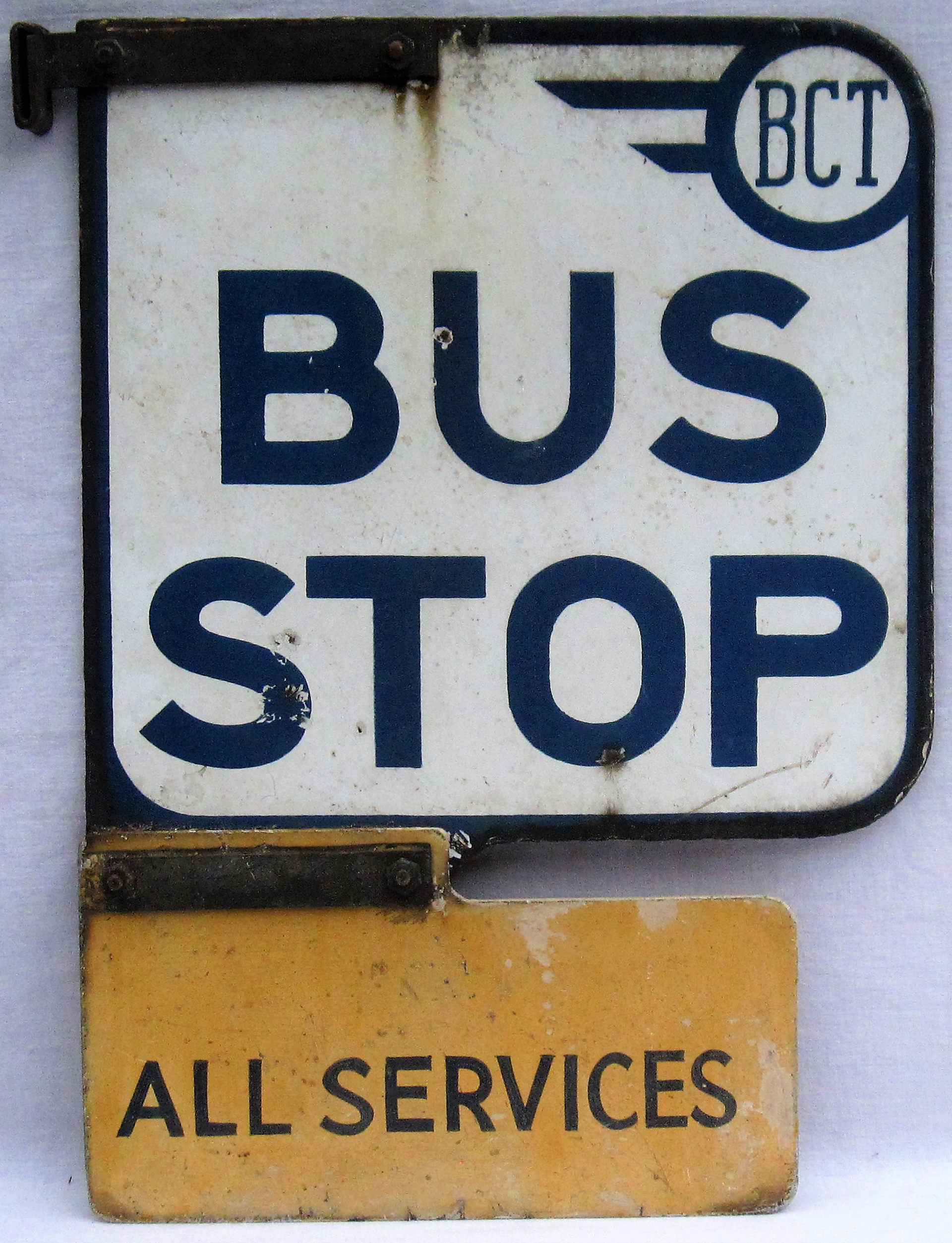 Double Sided enamel Bus Stop Sign. BCT BUS STOP with lower section ALL SERVICES. Ex BRADFORD CITY