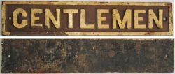 GWR Post Grouping cast iron door plate GENTLEMEN in good original condition.