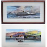 2 x Railway Carriage prints. Framed and glazed M.V. CAMBRIA in original frame together with unframed