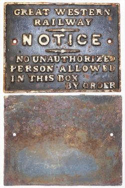 GWR Cast Iron Signal Box door notice. No Unauthorized persons etc in good original condition.