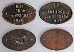2 x DMU Coach plates. BR SWINDON No 30334 1957 and BR DERBY No 30820 1970. Both in good original